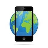 Illustration de Smartphone de globe du monde Photos libres de droits