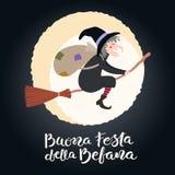 Illustration de sorcière, citation d'épiphanie en italien illustration de vecteur