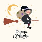 Illustration de sorcière, citation d'épiphanie en italien illustration stock