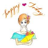 Illustration de sourire gaie de dame avec quelques fleurs dans ses mains et aujourd'hui heureux de mot comme calligraphie à la ma Image stock