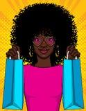 Illustration de style d'art de bruit de vecteur de couleur d'une fille avec des paquets Belle jeune fille d'Afro-américain tenant illustration de vecteur
