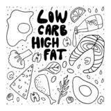Illustration de style de griffonnage de régime de cétonique Slogan à haute teneur en graisses de consommation de bas carburateur  illustration de vecteur