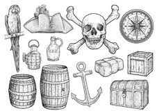 Illustration de substance de piraterie, dessin, gravure, encre, schéma, vecteur illustration stock