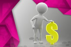illustration de symbole dollar de l'homme 3d Photos stock