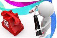 illustration de téléphone de marteau de l'homme 3d Photo stock