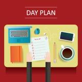 Illustration de table jaune avec les objets vides et différents de plan de jour Photo libre de droits