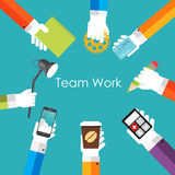 Illustration de Team Work Flat Concept Vector Image stock