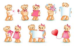 Illustration de Teddy Bears Set Valentine Vector Illustration de Vecteur