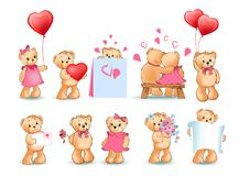 Illustration de Teddy Bears Set Valentine Vector Illustration Stock