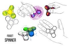 Illustration de tendance à la mode d'ensemble pour l'adolescent Le fileur de personne remuante avec la main du style tiré par la  Images stock