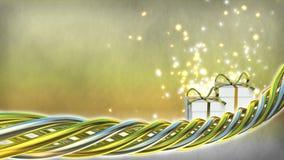 Illustration de thème d'anniversaire avec des cadeaux et des étincelles Photos libres de droits