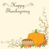 Illustration de thanksgiving avec le potiron et le tarte illustration de vecteur