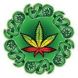 Illustration de timbre de conception de symbole de feuille de cannabis de marijuana Images libres de droits