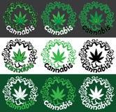 Illustration de timbre de symbole de conception de feuille de marijuana de cannabis Images stock