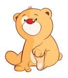 Illustration de Toy Bear Cub bourré le chef heureux de crabots mignons effrontés de personnage de dessin animé de fond a isolé le Photo stock