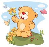 Illustration de Toy Bear Cub bourré le chef heureux de crabots mignons effrontés de personnage de dessin animé de fond a isolé le Photos libres de droits