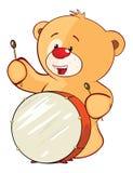 Illustration de Toy Bear Cub Drummer bourré le chef heureux de crabots mignons effrontés de personnage de dessin animé de fond a  Photographie stock