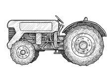 Illustration de tracteur, dessin, gravure, encre, schéma, vecteur illustration libre de droits