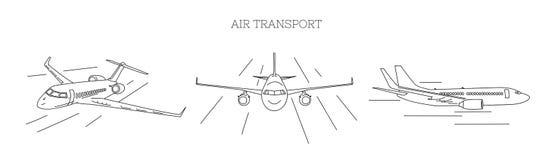 Illustration de transport aérien de trois avions d'angle de vue différent, contour illustration de vecteur