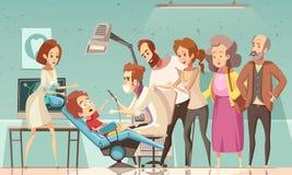 Illustration de Treating Baby Cartoon de dentiste illustration libre de droits