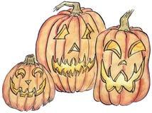 Illustration de trois Jack-o-lanternes photo stock