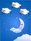 Illustration de trois moutons mignons au-dessus de Ba de ciel de nuit Photos libres de droits