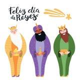 Illustration de trois rois, citation dans l'Espagnol illustration de vecteur