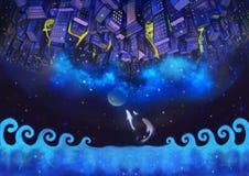 Illustration: De uppochnervända stadsbyggnaderna i den stjärnklara natten med flygfisken Arkivbild