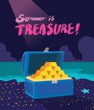 Illustration de vacances d'été, concept passionnant de chasse de trésor de conception plate illustration de vecteur