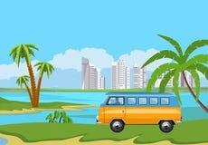 Illustration de vacances d'heure d'été Camping-car, minibus illustration de vecteur