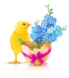 Illustration de vacances de Pâques avec le poulet illustration libre de droits