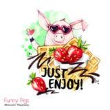 Illustration de vacances de salutation Porc de bande dessinée d'aquarelle avec le lettrage et la crème de week-end Dessert drôle  illustration de vecteur