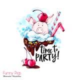 Illustration de vacances de salutation Porc de bande dessinée d'aquarelle avec le lettrage et les confettis de partie Dessert drô illustration stock