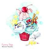 Illustration de vacances de salutation Porc de bande dessinée d'aquarelle en crème glacée avec des sucreries et des baies Dessert illustration stock