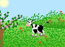 Illustration de vache sur le pré vert Photos libres de droits
