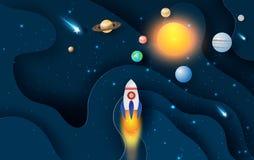 Illustration de vague abstraite de courbe avec le démarrage de fusée de lancement pour le cercle de système solaire L'espace de g