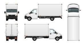 Illustration de van vector de cargaison sur le blanc Minibus de message publicitaire de ville Images stock