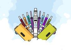 Illustration de Vaping de vaporisateur et d'accessoires illustration libre de droits