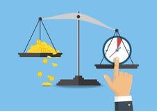 Illustration de vecteur Équilibre d'argent et de temps sur l'échelle Photos libres de droits