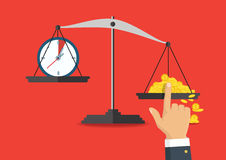 Illustration de vecteur Équilibre d'argent et de temps sur l'échelle Photos stock