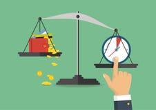 Illustration de vecteur Équilibre d'argent et de temps sur l'échelle Images stock