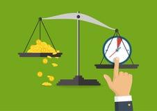 Illustration de vecteur Équilibre d'argent et de temps sur l'échelle Busine Photo libre de droits