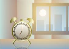 Illustration de vecteur Alarme près de fenêtre à l'aube Photos libres de droits