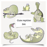 Illustration de vecteur Animaux tirés par la main Ensemble de collections de reptiles de bande dessinée images stock