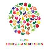 Illustration de vecteur avec des fruits et légumes Image stock