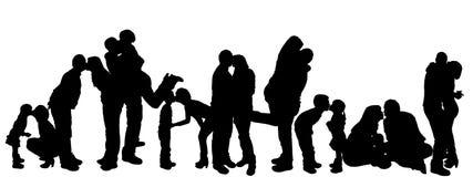 Illustration de vecteur avec des silhouettes de famille. Image libre de droits