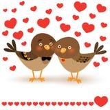 Illustration de vecteur avec deux oiseaux de bande dessinée Photos stock