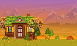 Illustration de vecteur avec la maison de campagne dans le style plat illustration libre de droits
