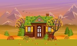 Illustration de vecteur avec la maison de campagne dans le style plat illustration de vecteur