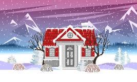 Illustration de vecteur avec la maison de campagne dans le style plat illustration stock